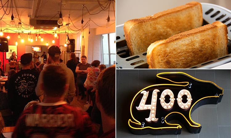 Three tiled images of the interiors of The Toast Bar, some toast and the 400 Rabbits logo