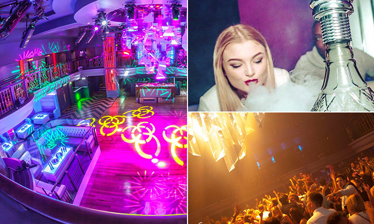 Three tiled images - including one of an empty room at Pryzm, one of a woman smoking a shisha and another of people on a dance floor