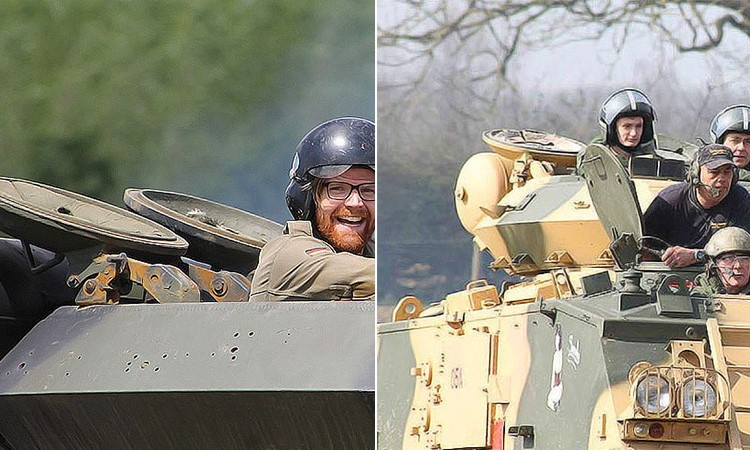Two images of men riding around in tanks