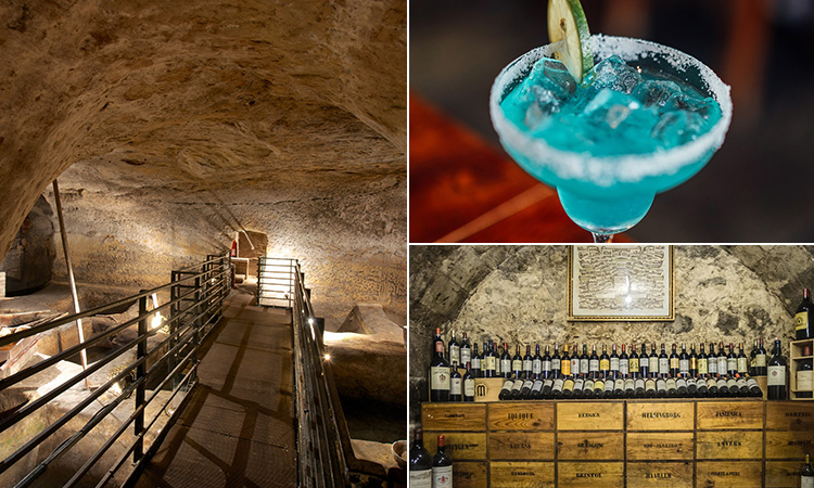 Three tiled images of some of Nottingham's caves, a blue cocktail and a cave turned into a wine cellar
