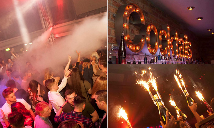 Three tiled images of some people dancing and talking in a club, some prosecco bottles with sparklers being held in the air and an illuminated cocktails sign
