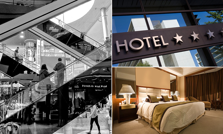 Three tiled images of a shopping centre, the exterior of a hotel and a king size bed in a hotel room