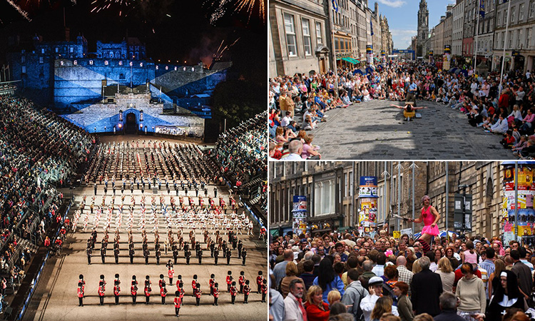 Three tiled images - including one of the Military Tattoo, and two of performers surrounded by crowds on the Royal Mile