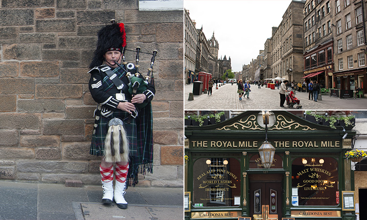 Three tiled images - including one of a man playing the bagpipes in a kilt, the exterior of The Royal Mile pub and one of the Royal Mile during the day