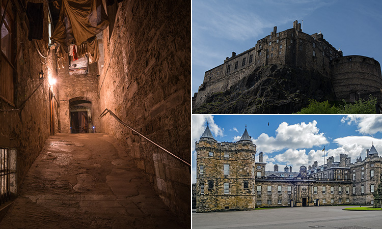 Three tiled images - including one of a street in The Real Mary Kings Close, one of Nottingham Castle and one of Holyrood Palace