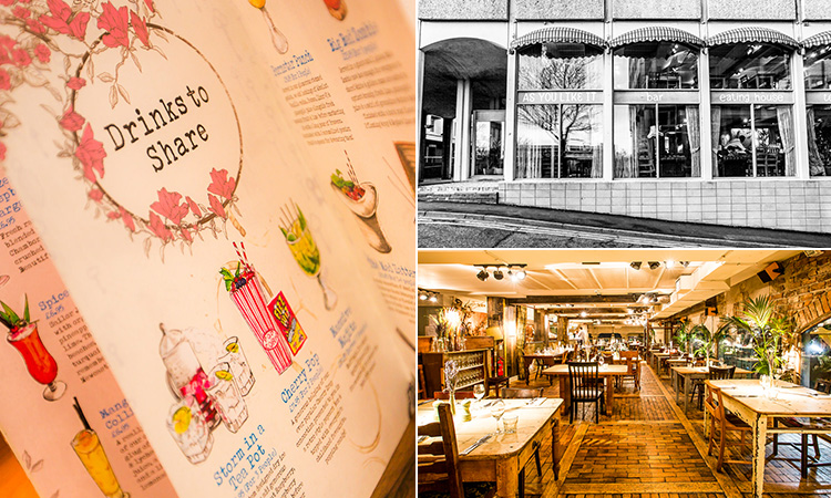 Three tiled images of As You Like It, Jesmond - including one of the exterior, one of the interior and another of the drinks menu