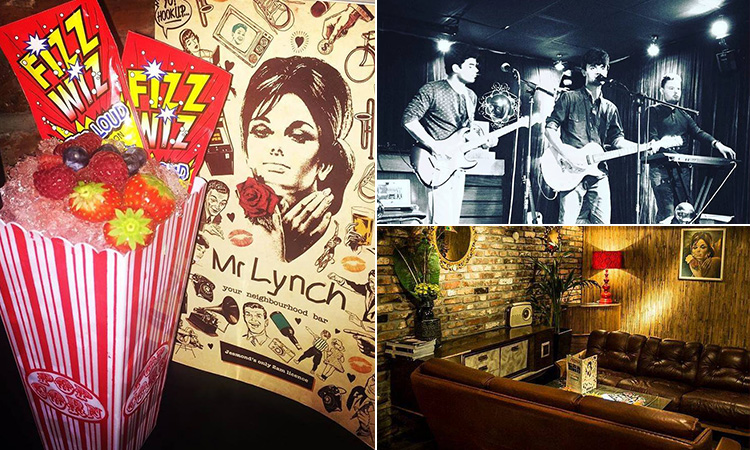 Three tiled images of Mr Lynch, Jesmond - including one of a cocktail in a retro popcorn box, one of the interior and another of three people performing on stage