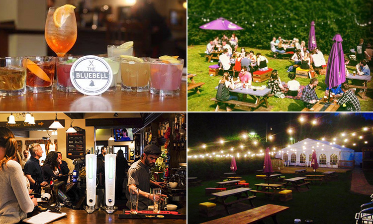 Four images of The Bluebell, Jesmond - including two of the beer garden, one of drinks on a table and another of people at the bar