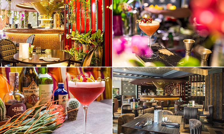 Four tiled images of different cocktails and drinking areas in Jesmond's Sohe Bar