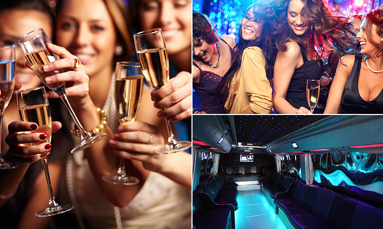Three tiled images - including two of women dancing and holding up champagne flutes, and the interior of a party bus