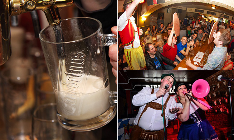 Three tiled images of the Bier Keller, Newcastle - including one of a stein being poured, one of people in the Bier Keller and an Ommpah band on stage
