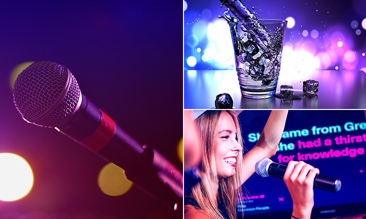 Three tiled images of a microphone, a drink being poured and a girl singing karaoke
