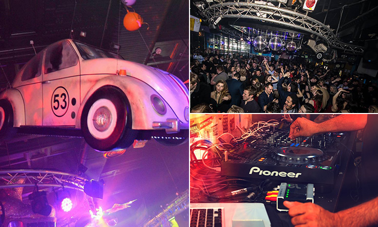 A retro Beetle hanging from the roof, a DJ using his decks and the interiors of Flares club in Newcastle