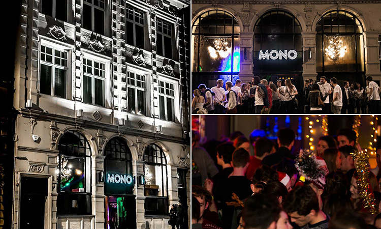 Three tiled images of the exterior of Mono bar, a queue outside at night time and people partying inside