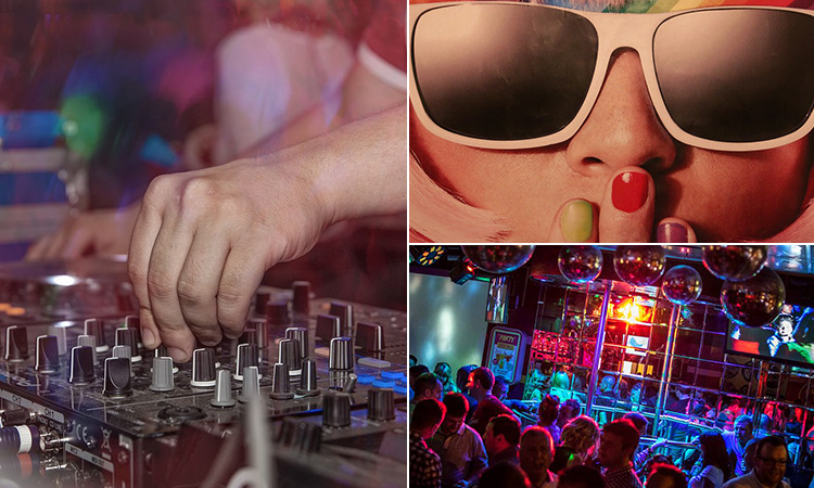 Three tiled images of Pop World, Newcastle - including one of a DJs hand on the set, one of a woman in sunglasses and another of People in the bar