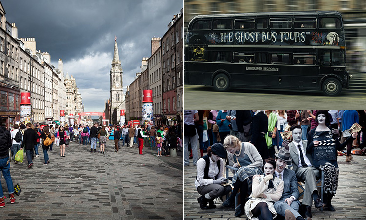 Three tiled images of Edinburgh Royal Mile during the Fringe Festival, some people dressed up and a Ghost Bus