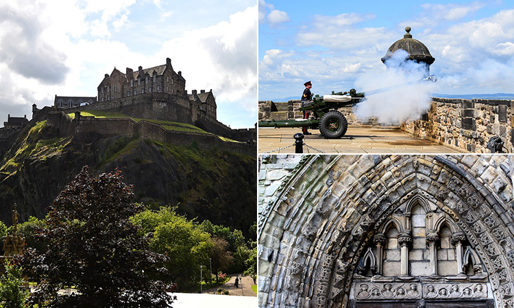 Three tiled images of Edinburgh's castle, a canon going off and the archway of a historic building