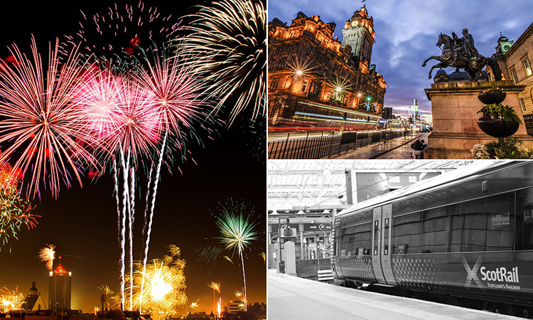 Three tiled images of fireworks, a ScotRail train and a picturesque photograph of Edinburgh