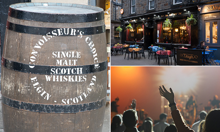 Three tiled images - one of a barrel of whisky, one of a club and one of the exterior of a traditional Edinburgh club