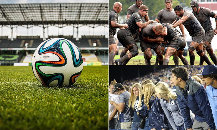 Three tiled images of a football, some people playing rugby and a crowd of young people at a sport match