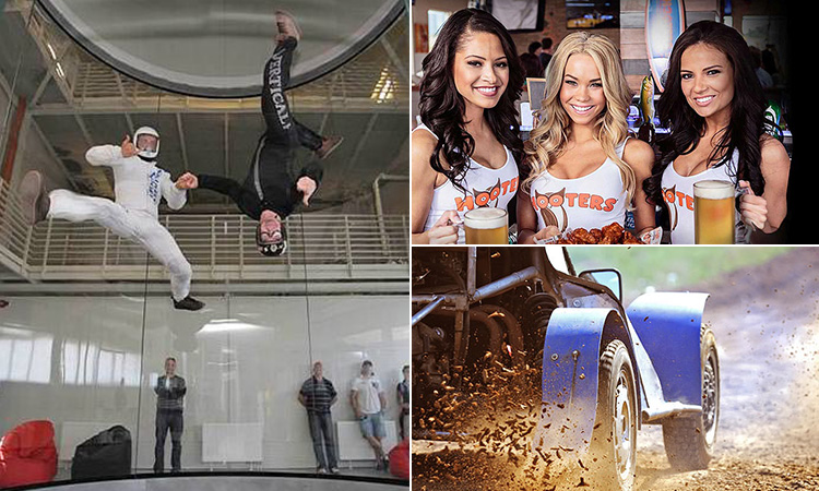Three tiled images - including one of three Hooters waitresses, one of two men indoor skydiving and a close up of a rage buggies wheels driving through mud