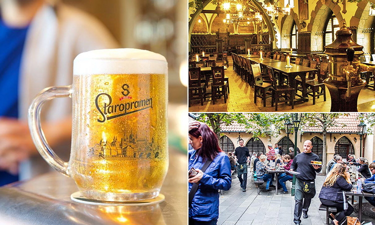 Three tiled images - including one of a full tankard beer, the interior of Ufleku brewery and people sat in a beer garden