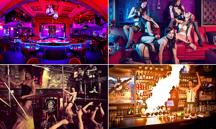 Four tiled images - including one of the interior of Goldsmiths strip club and one of the girls, girls dancing on the bar at Karlovy Lazne and a bartender setting fire to drinks at Hangar Bar
