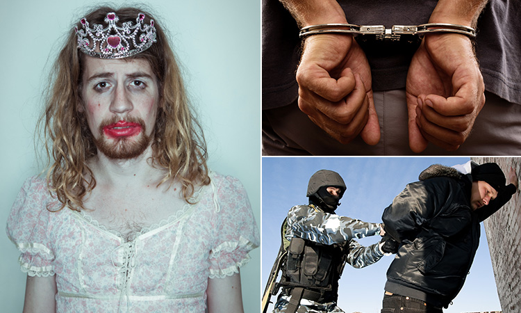 Three tiled images - including one of a man dressed in drag with makeup on, a close up of a man's hands behind his back and in handcuffs and a man being pinned against a wall by another man