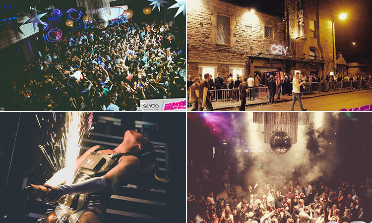 Four tiled images - including two of packed dance floors in Cav Club, one of people queuing outside the venue and one of a woman holding a giant sparkler on stage