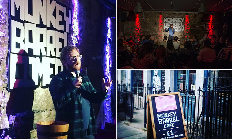 Three tiled images - including one of a man performing in stage at Monkey Barrel comedy club, one of a man holding a mic and the sign outside Monkey Barrel