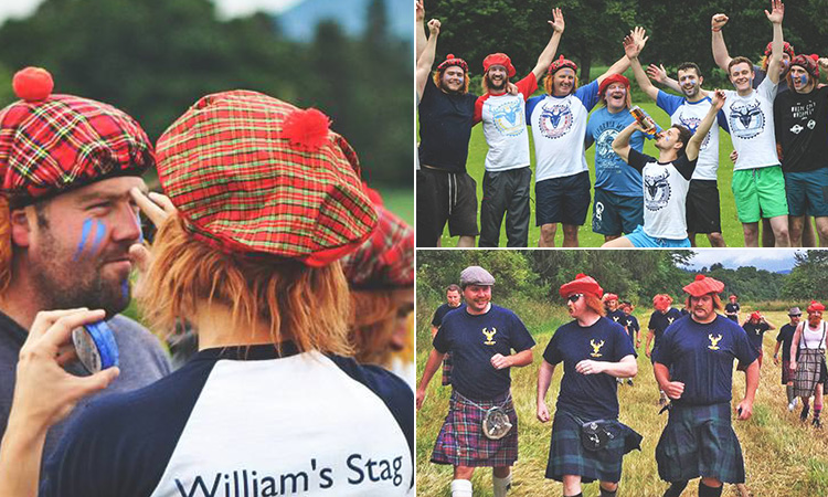Three tiled images - including one of men in kilts and walking in a field, men cheering and a man panting the face of another man whilst wearing Scottish hats