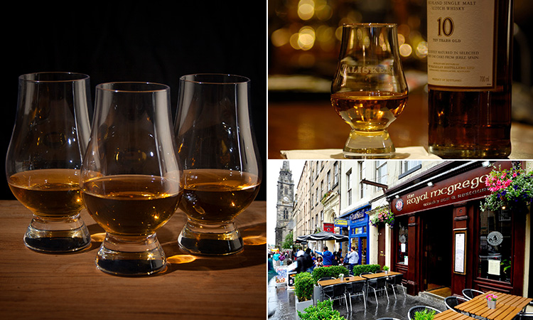 Three tiled images - including two of glasses filled with whisky, and one of the exterior of The Royal McGregor pub