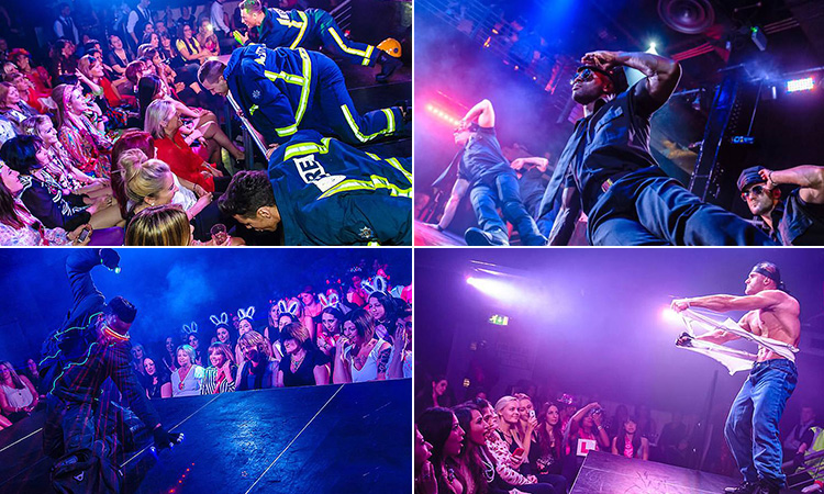 Four tiled images - including a man ripping his shirt off to the crowd, four firemen bending down to a crowd, two men dancing on stage and a man dancing with lights coming out of his goggles