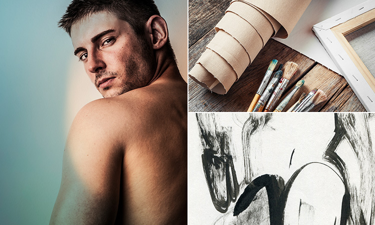 Three tiled images - including a semi-naked man looking back towards camera, a roll of brown paper next to the paintbrushes and a sketch