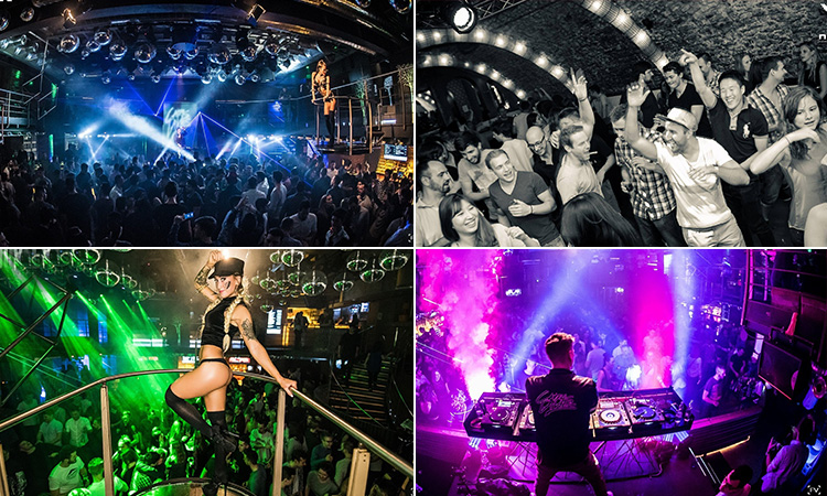 Four tiled images - including one of a DJ performing to a crowd to a pink backdrop, black and white image of people in a club, one of a semi-naked dancer on a platform above a crowd of people in a club and a packed dance floor in a club