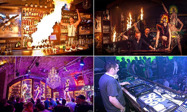 Four tiled images - including one of a bartender setting a drink on fire, one of two bartenders holding up sticks of fire and posing with two women in Hawaiian style bikinis, one of people in the pole dancing bar at Zlaty Strom and a man on the DJ decks performing to a crowd