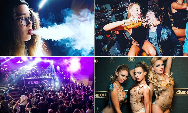 Four tiled images - including one of a woman blowing out smoke, one of a woman pouring a bottle of spirit into a man's mouth, three women posing in dancer outfits and one of people on the dancefloor at Roxy club
