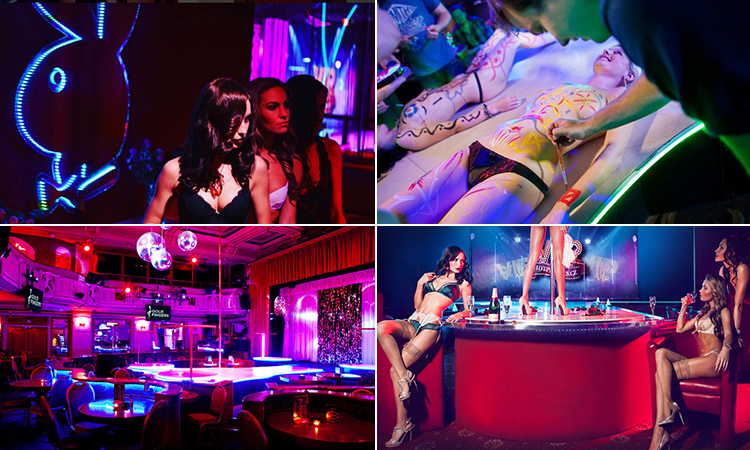 Four tiled images - including one of men painting semi-naked women, one of the interior of Goldfingers, one of women in underwear sat around a bar and one of three women posing next to a Playboy sign