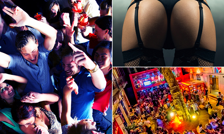 Three tiled images of a crowd of people partying, a girl's bum in suspenders and an outdoor drinking space