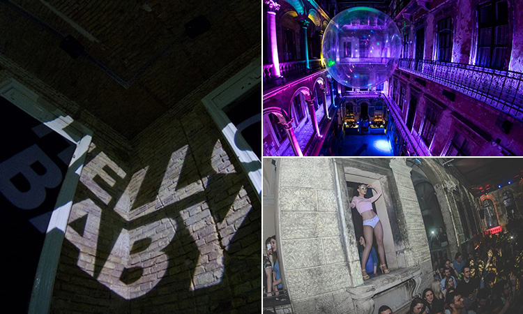 Three tiled images of Hello Baby bar, with projection on the wall, a girl dancing in the window and a giant inflated bubble