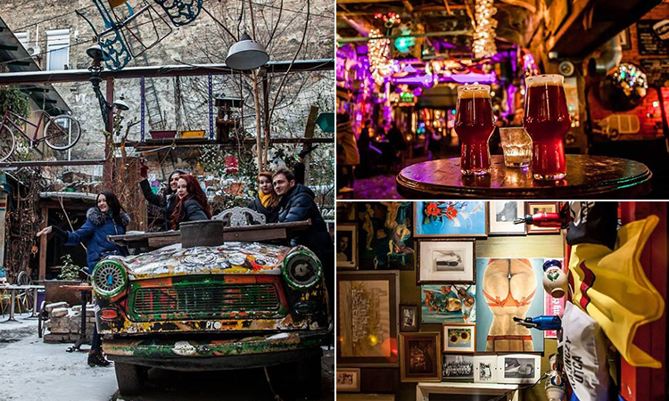 Three tiled images of people in a car in a ruin bar, two pints in a ruin bar and a room filled with quirky memorabilia