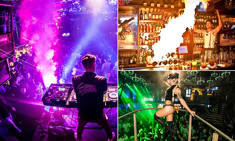 Three tiled images - including one of the back of a DJ performing to a crowd to a purple backdrop, a semi-naked dancer posing above a crowd in a club, and a bartender setting fire to drinks