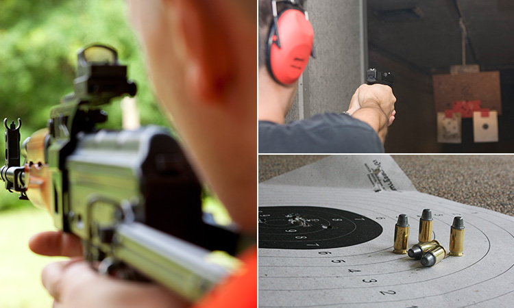 Three tiled images - including two of the back of men shooting guns in a range, and one of bullets on a target sheet