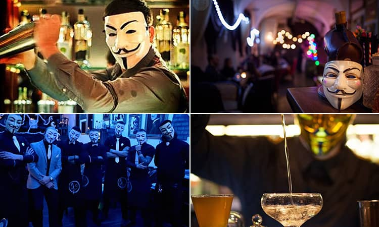 Four tiled images - including two of bartenders wearing Anonymous masks, one of a bartender in a gold mask pouring a cocktail, and one of an Anonymous mask on a shelf in a bar