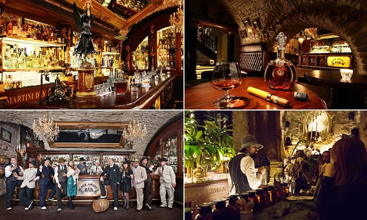 Four tiled images - including one of the interior of Black Angels, Prague, one of people in 20s style clothing posing next to the barm whisky in a decanter on a table and a bartender serving people at the bar