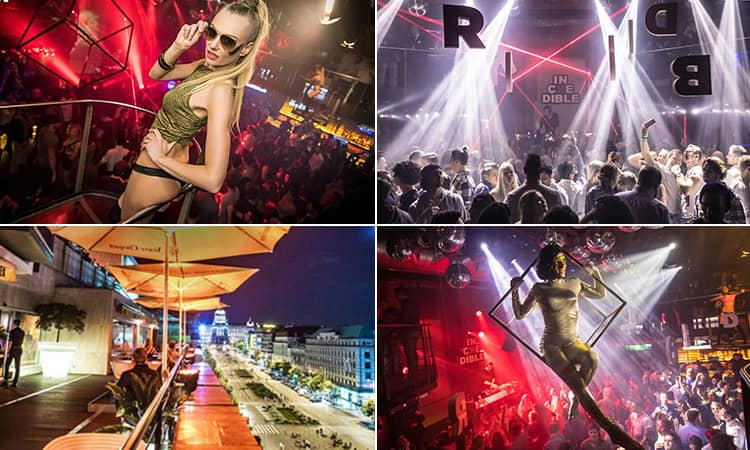 Four tiled images - including one of a dancer posing above a crowd in a club, people on a club dancefloor, a woman in a metal frame above a crowd and the outdoor terrace at Duplex