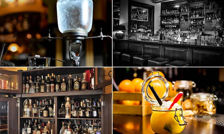 Four tiled images - including one of a yellow cocktail in a jar, a black and white image of Hemingway Bar, spirit bottles in a cupboard and a cocktail with a lamp