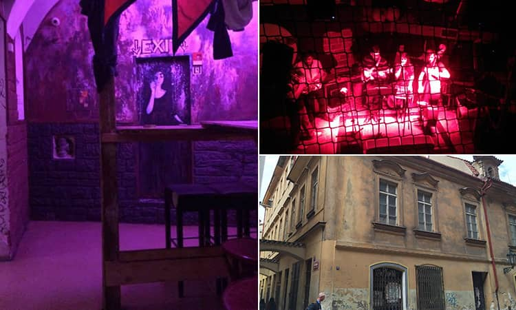 Three tiled images - including one of the interior of Nová Vzorkovna, an image of a band playing on stage taken through a fence and the exterior of the bar