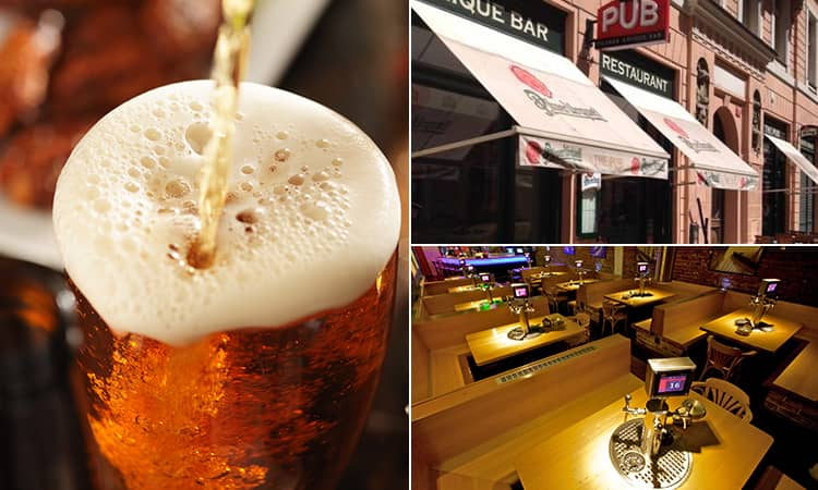 Three tiled images - including one of a pint of beer being poured, the self-service tables in The Pub, Prague, and the exterior of The Pub