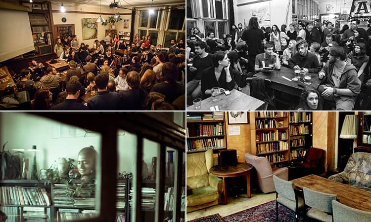 Four tiled images - including one of a room visible through a window, two of people sat in Unijazz, Prague, and one of an empty room filled with furniture